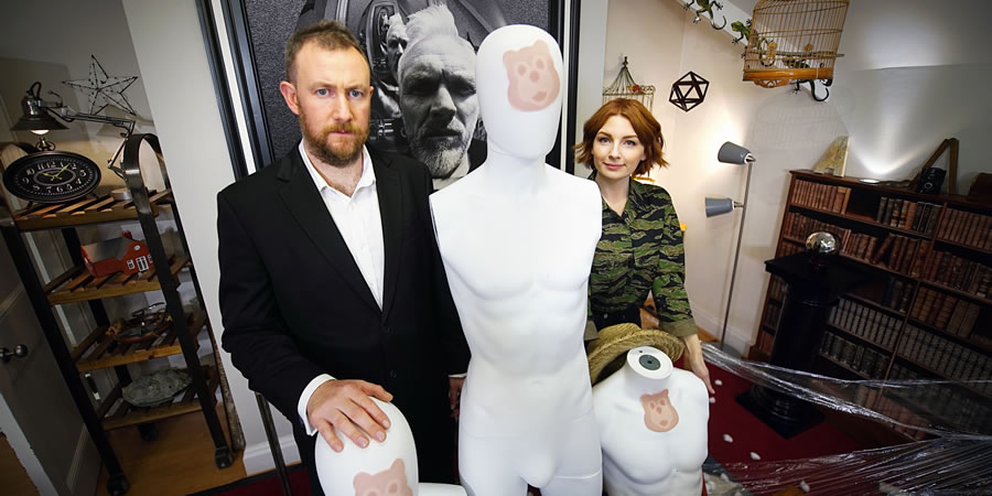 Taskmaster. Image shows from L to R: Alex Horne, Alice Levine. Copyright: Avalon Television.