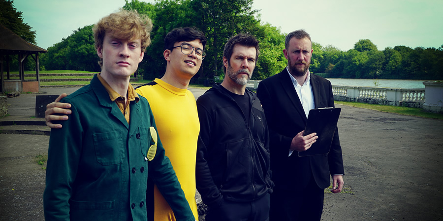 Taskmaster. Image shows from L to R: James Acaster, Phil Wang, Rhod Gilbert, Alex Horne. Copyright: Avalon Television.