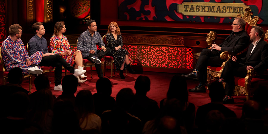 Taskmaster. Image shows from L to R: Iain Stirling, Joe Thomas, Lou Sanders, Paul Sinha, Sian Gibson, Greg Davies, Alex Horne. Copyright: Avalon Television.