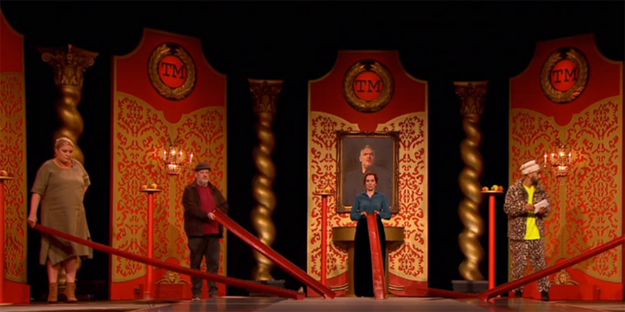 Taskmaster. Image shows from L to R: Daisy May Cooper, Johnny Vegas, Katherine Parkinson, Mawaan Rizwan. Copyright: Avalon Television.