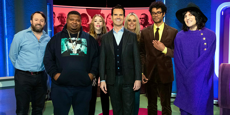 The Big Fat Quiz Of The Year. Image shows from L to R: David Mitchell, Big Narstie, Katherine Ryan, Jimmy Carr, Roisin Conaty, Richard Ayoade, Noel Fielding.