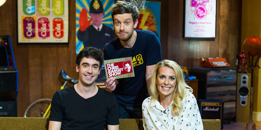 The Chris Ramsey Show. Image shows from L to R: Adam Hess, Chris Ramsey, Sara Pascoe. Copyright: Avalon Television.