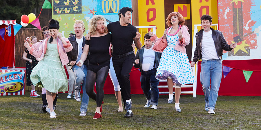 The Keith & Paddy Picture Show. Image shows from L to R: Rizzo (Pat Oliver), Jan (Fearne Cotton), Putzie (Adam C. Booth), Sandy (Leigh Francis), Danny (Paddy McGuinness), Sonny (Hank Osasuna), Frenchie (Stacey Solomon), Doody (George Potts). Copyright: Talkback.