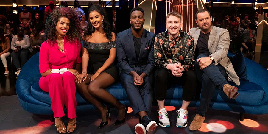 The Lateish Show With Mo Gilligan. Image shows from L to R: Kelis Rogers, Maya Jama, Mo Gilligan, Joe Lycett, Danny Dyer.