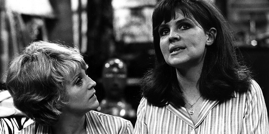 The Liver Birds. Image shows from L to R: Beryl Hennessey (Polly James), Dawn (Pauline Collins). Copyright: BBC.