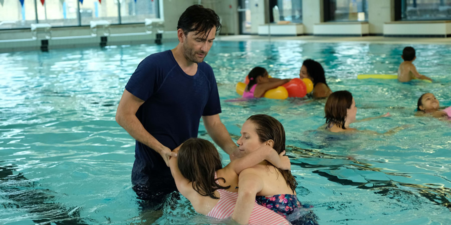 There She Goes. Image shows from L to R: Simon (David Tennant), Rosie (Miley Locke), Emily (Jessica Hynes). Copyright: Merman.