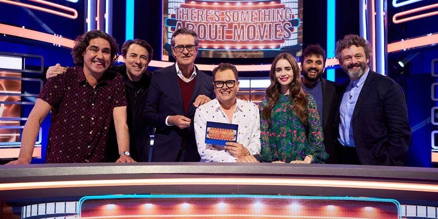 There's Something About Movies. Image shows from L to R: Micky Flanagan, Jonathan Ross, Rupert Everett, Alan Carr, Lily Collins, Nish Kumar, Michael Sheen.