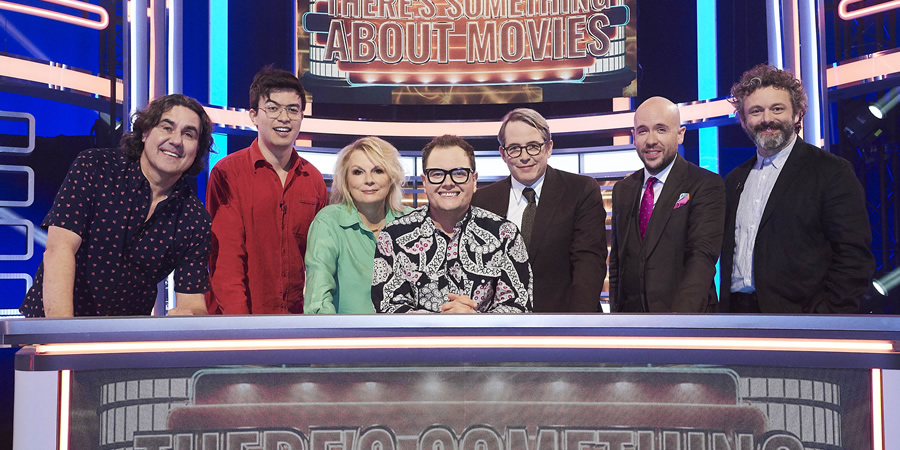 There's Something About Movies. Image shows from L to R: Micky Flanagan, Phil Wang, Jennifer Saunders, Alan Carr, Matthew Broderick, Tom Allen, Michael Sheen.