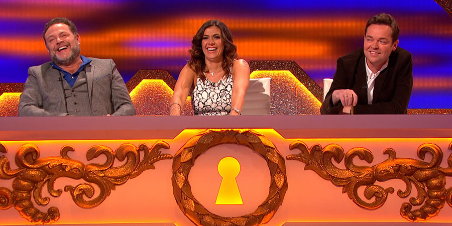 Through The Keyhole. Image shows from L to R: John Thomson, Kym Marsh, Stephen Mulhern. Copyright: Talkback.
