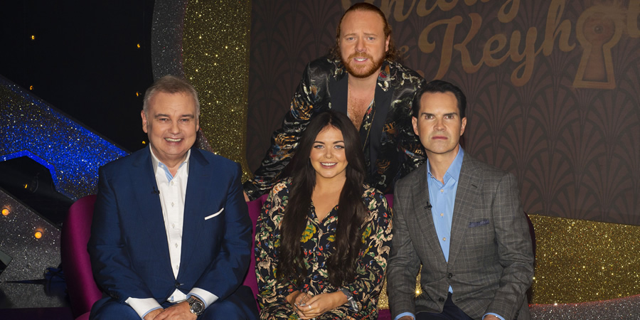 Through The Keyhole. Image shows from L to R: Eamonn Holmes, Scarlett Moffatt, Leigh Francis, Jimmy Carr. Copyright: Talkback.