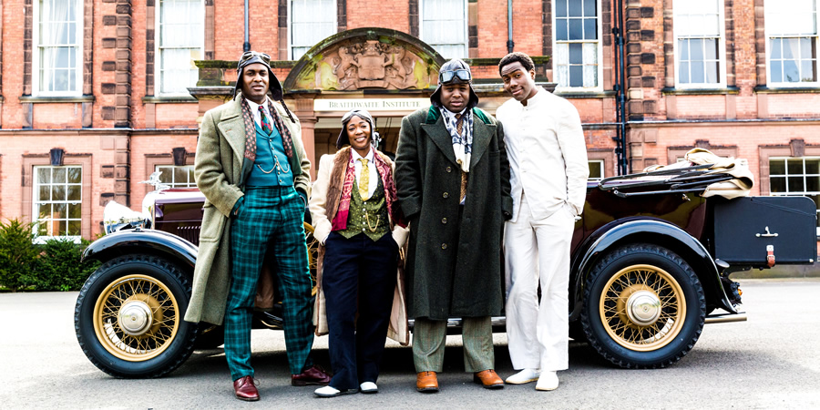 Timewasters. Image shows from L to R: Jason (Kadiff Kirwan), Lauren (Adelayo Adedayo), Horace (Samson Kayo), Nick (Daniel Lawrence Taylor). Copyright: Big Talk Productions.