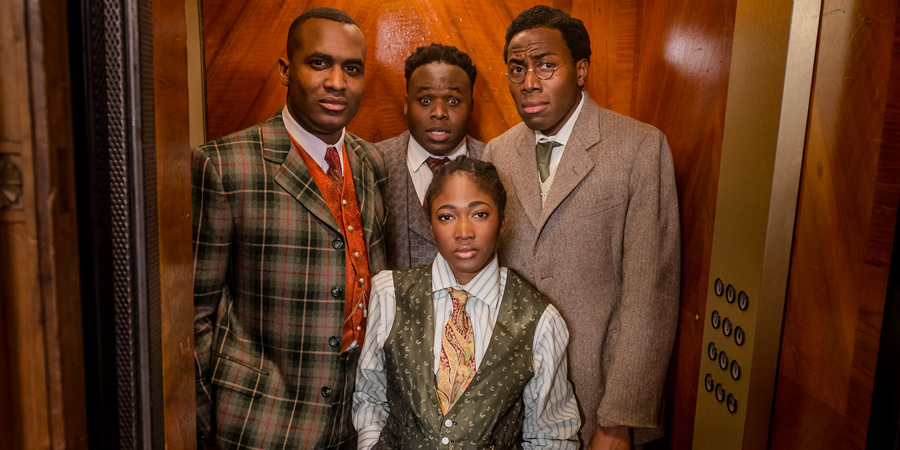 Timewasters. Image shows from L to R: Jason (Kadiff Kirwan), Horace (Samson Kayo), Lauren (Adelayo Adedayo), Nick (Daniel Lawrence Taylor). Copyright: Big Talk Productions.