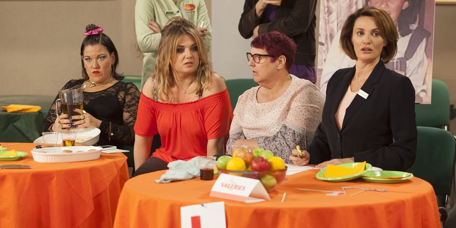 Trollied. Image shows from L to R: Lisa (Beverly Rudd), Linda (Faye McKeever), Sue (Lorraine Cheshire), Cheryl (Sarah Parish). Copyright: Roughcut Television.
