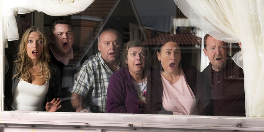 Two Doors Down. Image shows from L to R: Michelle (Joy McAvoy), Alan (Graeme Stevely), Eric (Alex Norton), Christine (Elaine C. Smith), Beth (Arabella Weir), Colin (Jonathan Watson). Copyright: BBC.