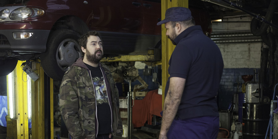 Uncle. Image shows from L to R: Andy (Nick Helm), Mechanic (Tom Davis). Copyright: Baby Cow Productions.
