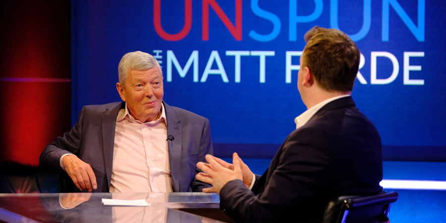 Unspun With Matt Forde. Image shows from L to R: Alan Johnson, Matt Forde. Copyright: Avalon Television.