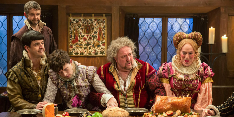 Upstart Crow. Image shows from L to R: Kempe (Spencer Jones), Bottom (Rob Rouse), Florian (Kieran Hodgson), Burbage (Steve Speirs), Condell (Dominic Coleman). Copyright: BBC.