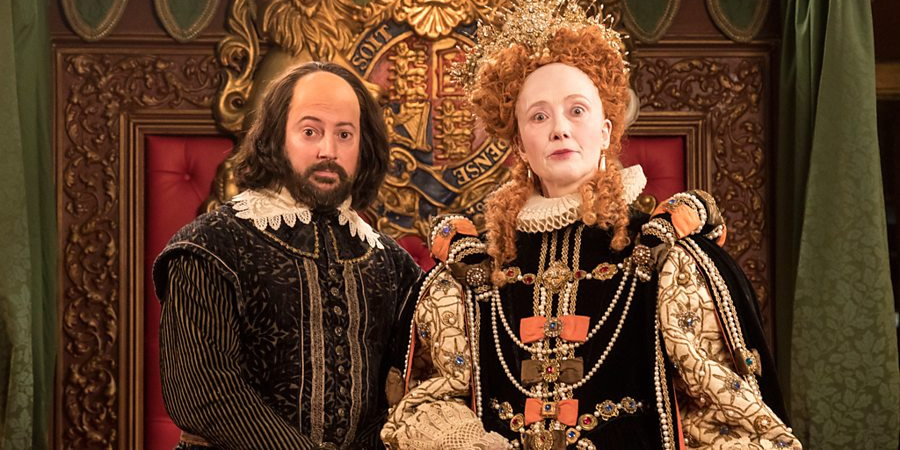 Upstart Crow. Image shows from L to R: Will Shakespeare (David Mitchell), Queen Elizabeth (Emma Thompson). Copyright: BBC.