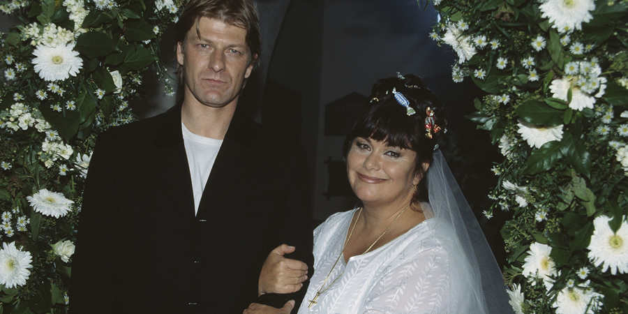 The Vicar Of Dibley. Image shows from L to R: Sean Bean, Geraldine Grainger (Dawn French). Copyright: Tiger Aspect Productions.