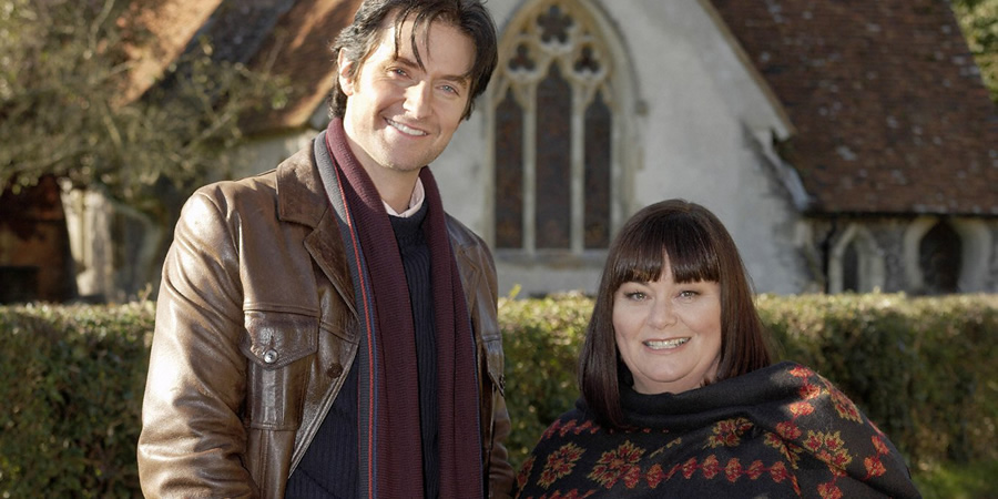 The Vicar Of Dibley. Image shows from L to R: Harry Kennedy (Richard Armitage), Geraldine Grainger (Dawn French). Copyright: Tiger Aspect Productions.