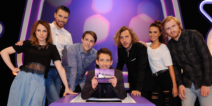 Virtually Famous. Image shows from L to R: Cariad Lloyd, Rylan Clark-Neal, Chris Stark, Kevin McHale, Seann Walsh, Jennifer Metcalfe, Bobby Mair. Copyright: Talkback / Hungry Bear Media.