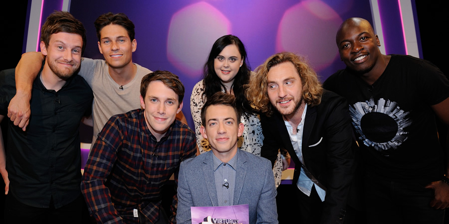 Virtually Famous. Image shows from L to R: Chris Ramsey, Joey Essex, Chris Stark, Kevin McHale, Sharon Rooney, Seann Walsh, Eddie Kadi. Copyright: Talkback / Hungry Bear Media.