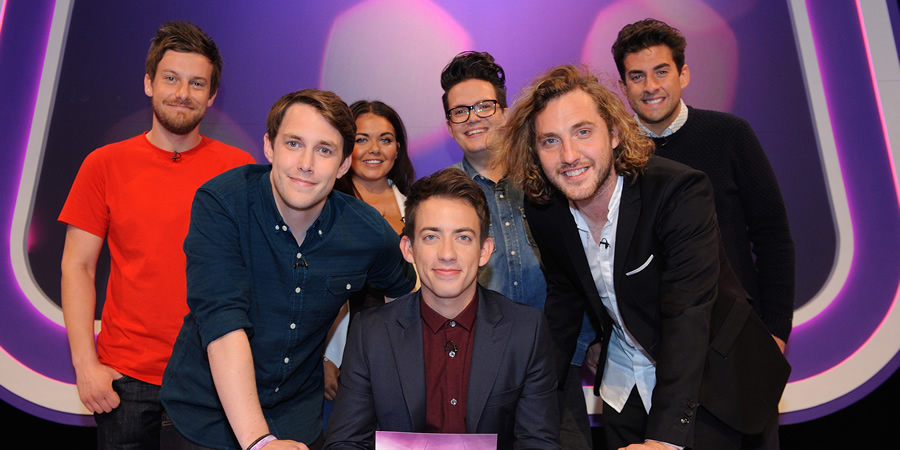Virtually Famous. Image shows from L to R: Chris Ramsey, Chris Stark, Scarlett Moffatt, Kevin McHale, David Morgan, Seann Walsh, James Argent. Copyright: Talkback / Hungry Bear Media.