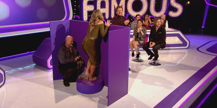 Virtually Famous. Image shows from L to R: Seann Walsh, Spencer Matthews, Chris Ramsey, Vicky Pattison, Scarlett Moffatt, Tom Allen, Danielle Armstrong.
