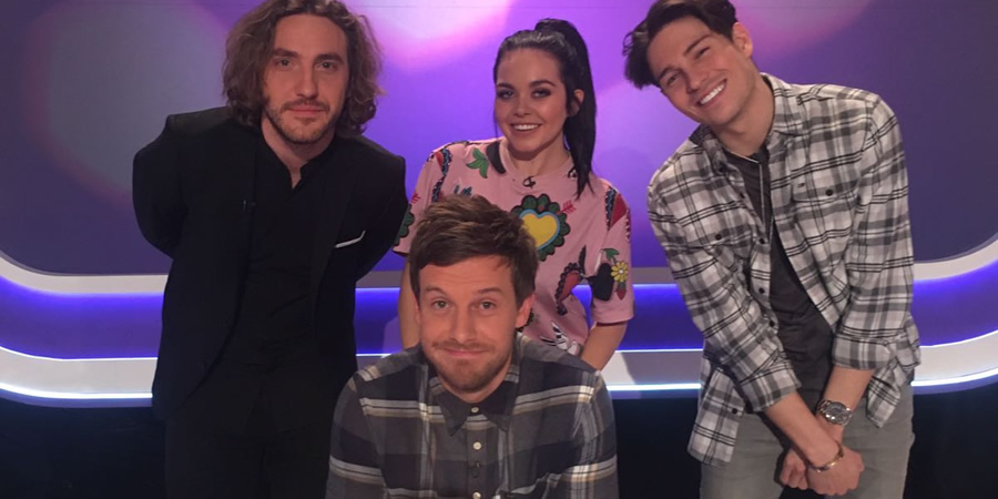 Virtually Famous. Image shows from L to R: Seann Walsh, Chris Ramsey, Scarlett Moffatt, Joey Essex.