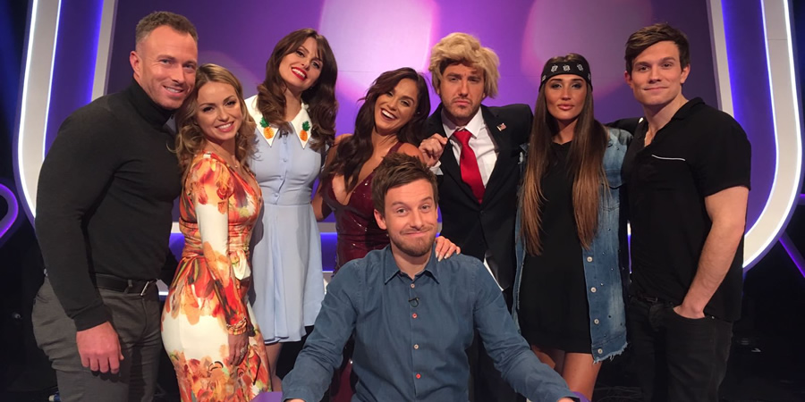 Virtually Famous. Image shows from L to R: James Jordan, Ola Jordan, Ellie Taylor, Vicky Pattison, Chris Ramsey, Seann Walsh, Megan McKenna, Will Best.