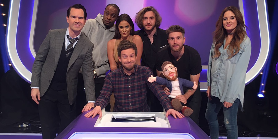 Virtually Famous. Image shows from L to R: Jimmy Carr, Dane Baptiste, Vicky Pattison, Chris Ramsey, Seann Walsh, Joel Dommett, Alexandra Felstead.
