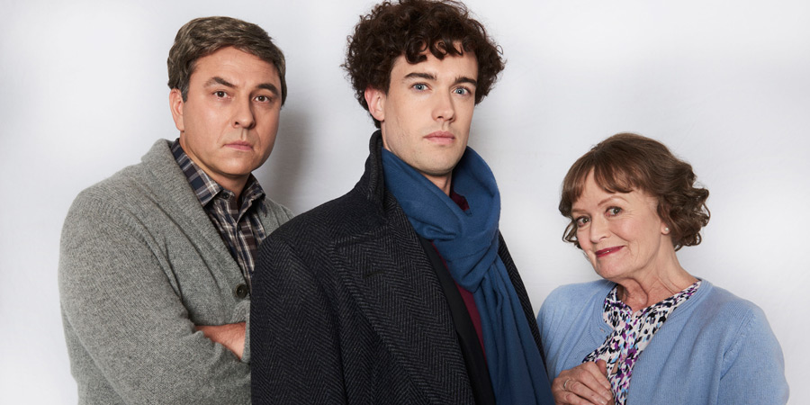 Walliams & Friend. Image shows from L to R: David Walliams, Jack Whitehall, Mrs Hudson (Judy Loe). Copyright: King Bert Productions.