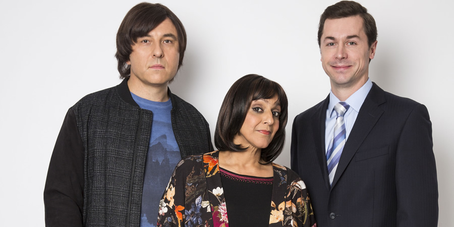 Walliams & Friend. Image shows from L to R: David Walliams, Meera Syal, Mike Wozniak. Copyright: King Bert Productions.