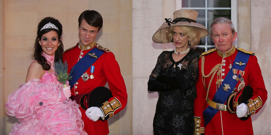 The Windsors. Image shows from L to R: Kate (Louise Ford), Wills (Hugh Skinner), Camilla (Haydn Gwynne), Charles (Harry Enfield).