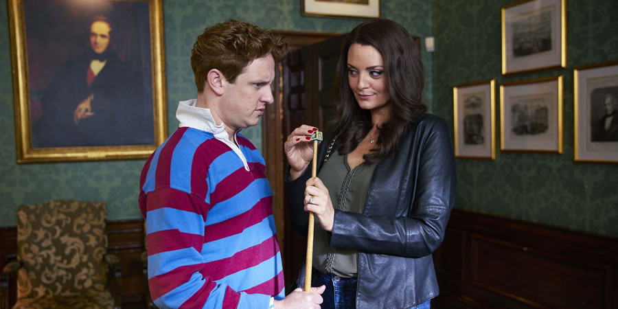 The Windsors. Image shows from L to R: Harry (Richard Goulding), Pippa (Morgana Robinson). Copyright: Noho Film and TV.