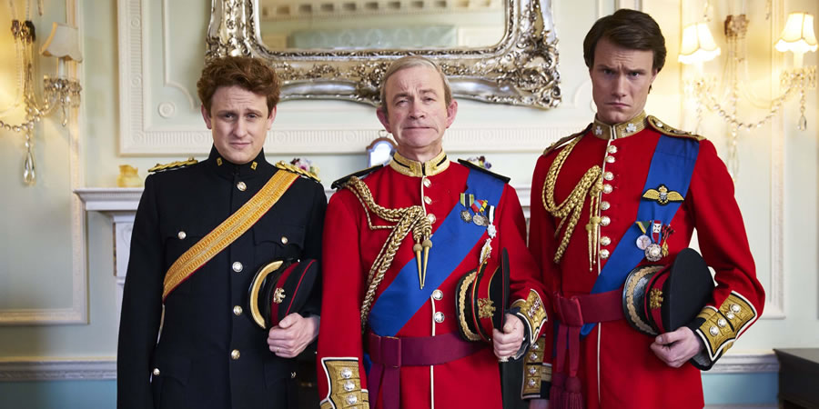 The Windsors. Image shows from L to R: Harry (Richard Goulding), Charles (Harry Enfield), Wills (Hugh Skinner). Copyright: Noho Film and TV.