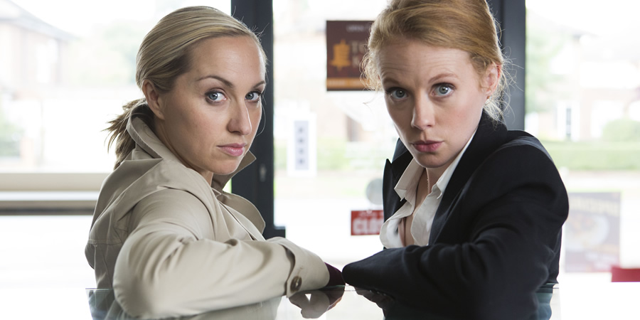 Witless. Image shows from L to R: Leanne (Kerry Howard), Rhona (Zoe Boyle). Copyright: Objective Productions.