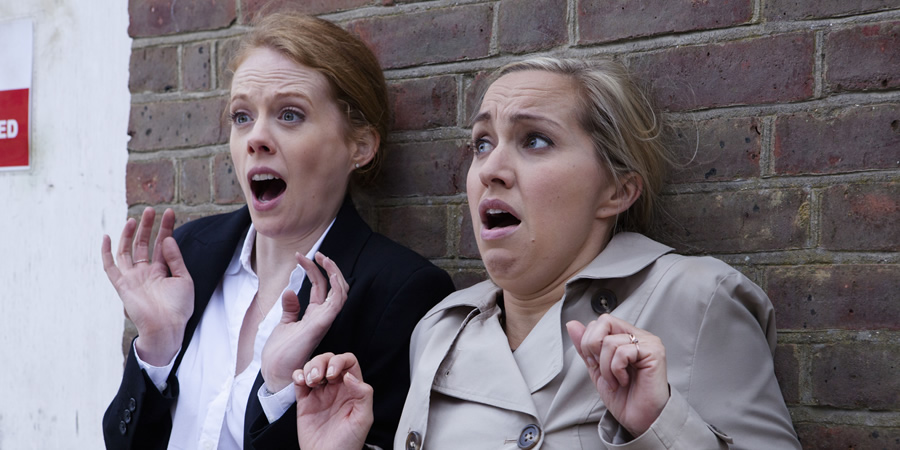 Witless. Image shows from L to R: Rhona (Zoe Boyle), Leanne (Kerry Howard). Copyright: Objective Productions.