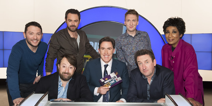 Would I Lie To You?. Image shows from L to R: Jon Richardson, David Mitchell, Danny Dyer, Rob Brydon, Joe Lycett, Lee Mack, Moira Stuart. Copyright: Zeppotron.