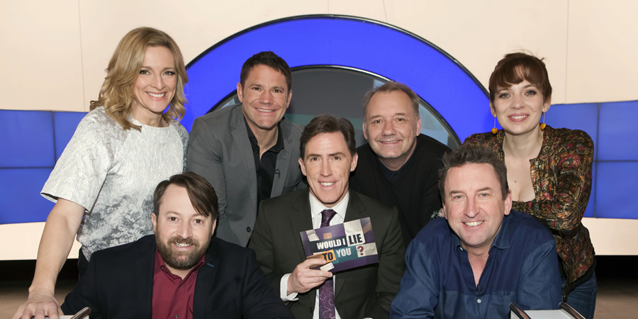 Would I Lie To You?. Image shows from L to R: Gabby Logan, David Mitchell, Steve Backshall, Rob Brydon, Bob Mortimer, Lee Mack, Katherine Parkinson. Copyright: Zeppotron.