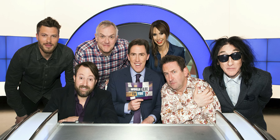 Would I Lie To You?. Image shows from L to R: Rick Edwards, David Mitchell, Greg Davies, Rob Brydon, Alex Jones, Lee Mack, John Cooper Clarke. Copyright: Zeppotron.