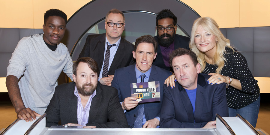 Would I Lie To You?. Image shows from L to R: Tinchy Stryder, David Mitchell, Jack Dee, Rob Brydon, Romesh Ranganathan, Lee Mack, Gaby Roslin. Copyright: Zeppotron.