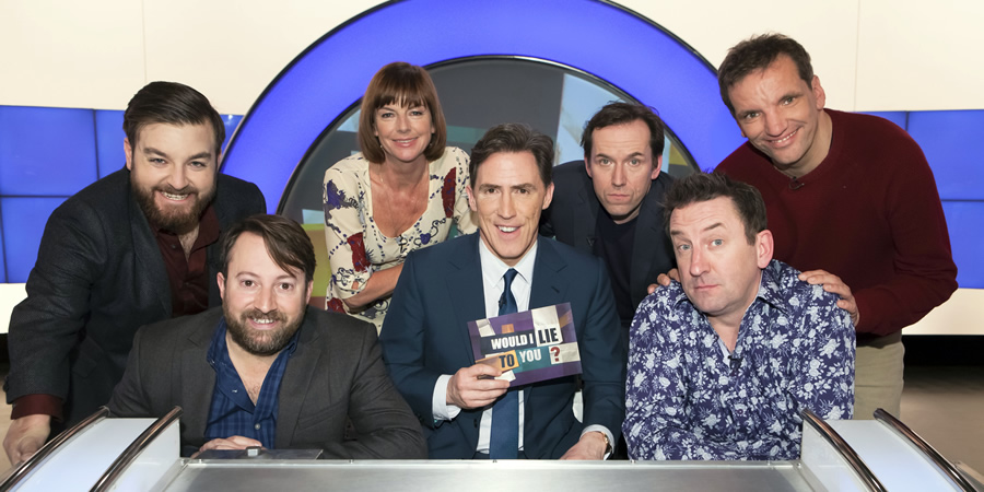 Would I Lie To You?. Image shows from L to R: Alex Brooker, David Mitchell, Doon Mackichan, Rob Brydon, Ben Miller, Lee Mack, Henning Wehn. Copyright: Zeppotron.