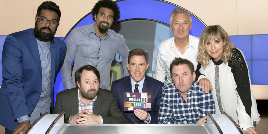 Would I Lie To You?. Image shows from L to R: Romesh Ranganathan, David Mitchell, David Haye, Rob Brydon, Lee Mack, Martin Kemp, Mel Giedroyc. Copyright: Zeppotron.