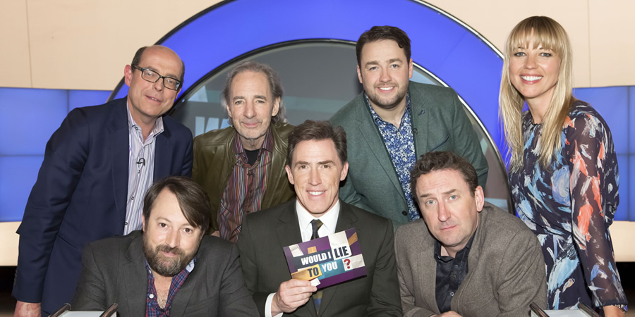Would I Lie To You?. Image shows from L to R: Nick Robinson, David Mitchell, Harry Shearer, Rob Brydon, Jason Manford, Lee Mack, Sara Cox. Copyright: Zeppotron.