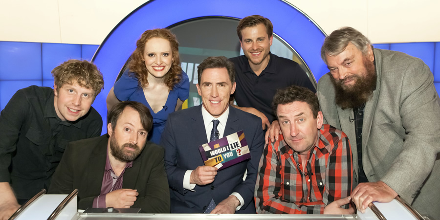 Would I Lie To You?. Image shows from L to R: Josh Widdicombe, David Mitchell, Kate Williams, Rob Brydon, Kevin Bishop, Lee Mack, Brian Blessed. Copyright: Zeppotron.