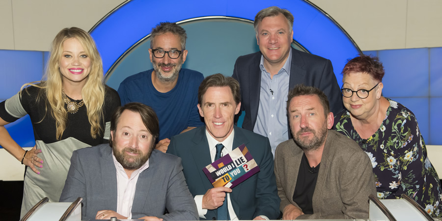 Would I Lie To You?. Image shows from L to R: Kimberly Wyatt, David Mitchell, David Baddiel, Rob Brydon, Ed Balls, Lee Mack, Jo Brand. Copyright: Zeppotron.