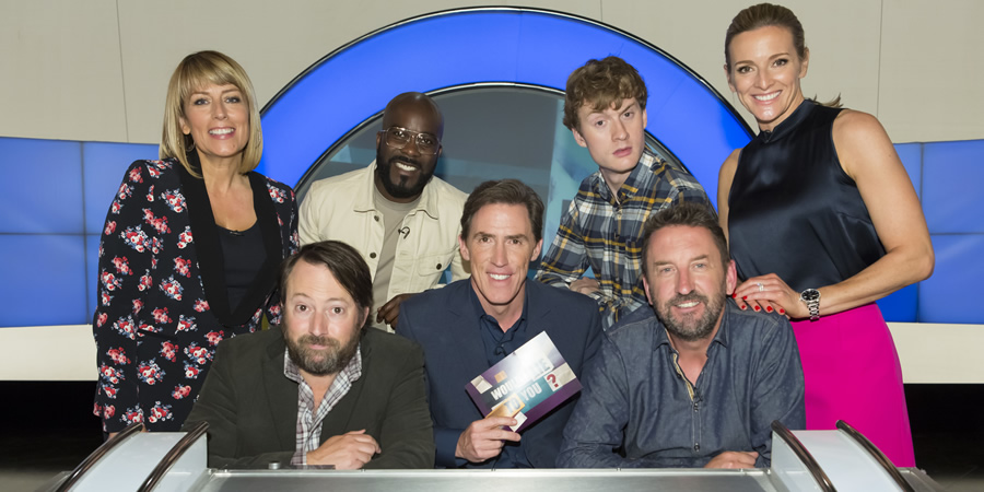 Would I Lie To You?. Image shows from L to R: Fay Ripley, David Mitchell, Melvin Odoom, Rob Brydon, James Acaster, Lee Mack, Gabby Logan. Copyright: Zeppotron.