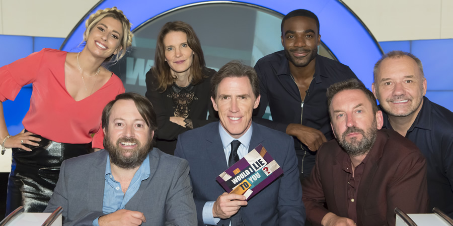 Would I Lie To You?. Image shows from L to R: Stacey Solomon, David Mitchell, Susie Dent, Rob Brydon, Ore Oduba, Lee Mack, Bob Mortimer. Copyright: Zeppotron.