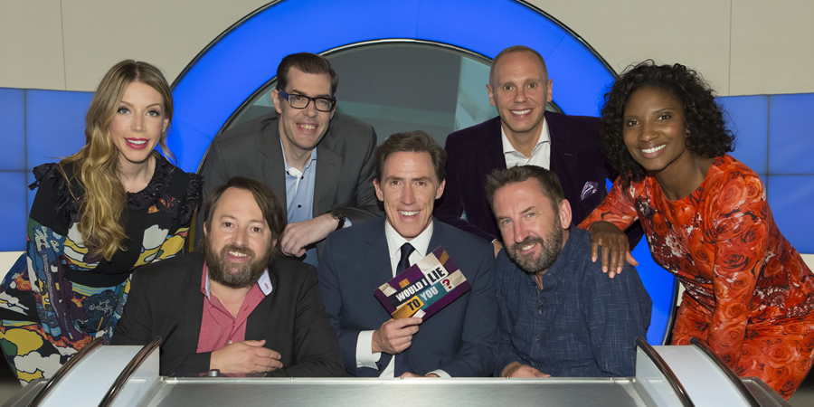 Would I Lie To You?. Image shows from L to R: Katherine Ryan, David Mitchell, Richard Osman, Rob Brydon, Lee Mack, Robert Rinder, Denise Lewis. Copyright: Zeppotron.